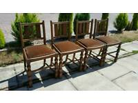 4 x Vintage Wooden Dining Chairs