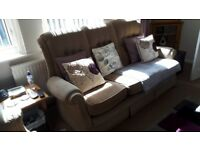 3 seater button back fabric sofa