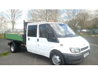 FORD TRANSIT 2.4TD CREW CAB TIPPER TRUCK 2004 04 REG - LWB / MOT'D - DRIVES PERFECTLY - NO VAT