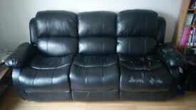 Leather sofa 3 seat recliner