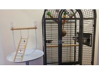 Large bird cage with parrot stand