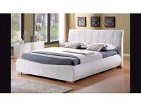 King size white bed frame.