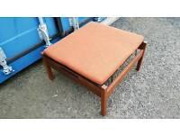 Large retro mid-century teak footstool with incline setting