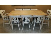 Farmhouse Table with 8 chairs (2 carvers)