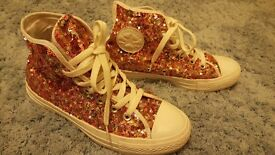Size 5 pink sequin converse