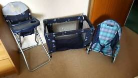 dolls cot high chair and bouncer