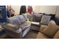 Brand new corner sofa in crushed velvet