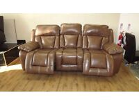 Designer Brown leather electric 3+2 seater sofas (24) £999