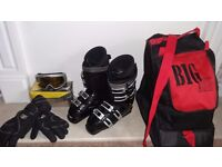 LADIES DALBELLO TX707 TRIAX BLACK SKI BOOTS SIZE 6 BOOT BAG, CARRERA GOGGLES & GLOVES