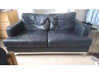 Black leather sofa (2 seater) - good condition