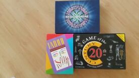 Three Board Games Who wants to be a Millionaire, Taboo, Game of 20th Century