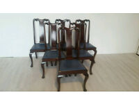 Set of Six Queen Anne Style Mahogany Highback Dining Chairs #001