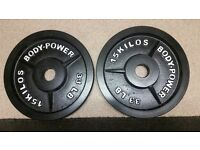 Body-Power Olympic weight plates 2 x 15 KG not cheap very gd quality and as new PLZ READ NO OFFERS