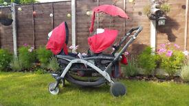 Used Cam Twin Pulsar stroller pushchair tandem pram