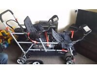 Joovy Big Caboose Stand On Tandem Triple Pushchair USED TWICE!