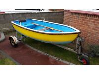 "Rowing Dinghy/Tender (8' 9"") with road trailer, oars etc."