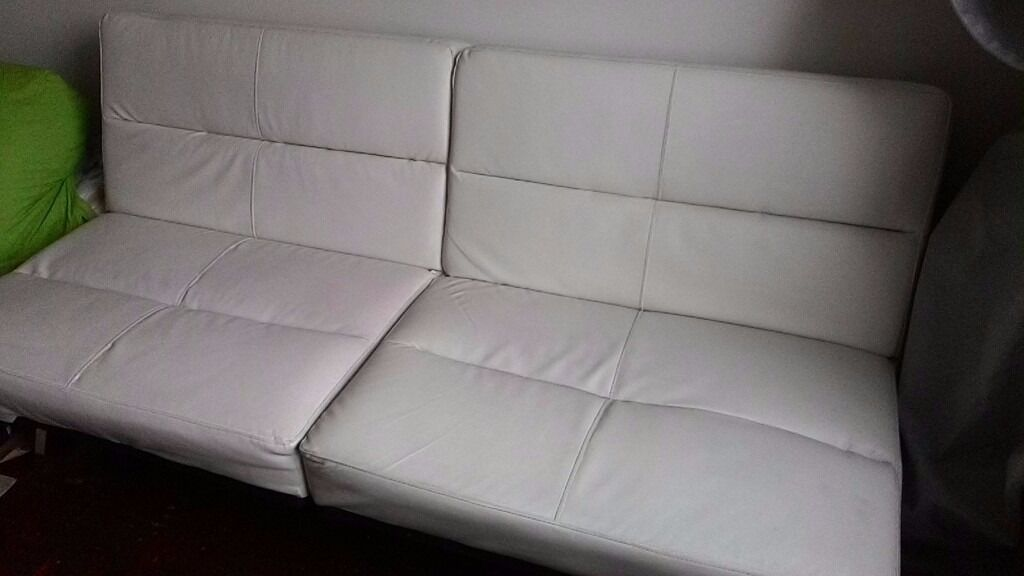 Tenby Click Clack Sofa Bed Off White Faux Leather