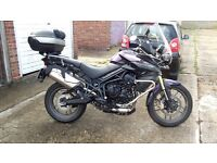 Triumph Tiger 800 2012 in one off Purple by dealer extras engine bars plus