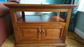 TV stand in mahogany, space for DVD player and set top box.