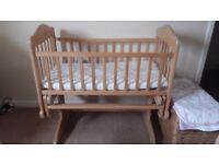 Wooden rocking crib