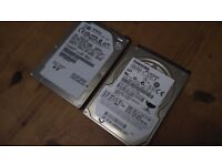 Hitachi, and Toshiba 160 gb 2.5 inch hard drives