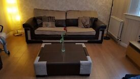 3 seater Sofa - brown/cream