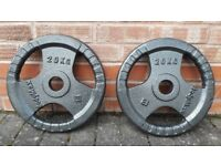 20KG OLYMPIC CAST IRON TRI GRIP WEIGHT PLATES - 2 Inch holes
