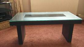 Glass topped Coffee table (tempered glass)