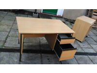 Beech veneer desk with filing drawer and top drawer