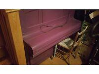 Upright piano, purple