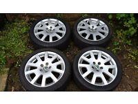 "Genuine 16"" Skoda VRS Alloy Wheels & Tyres 5x100 pcd - Octavia, Fabia, Golf, Beetle, Leon, Polo etc"