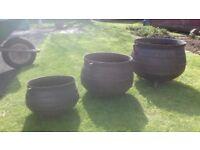 3 antique cast iron cauldrons