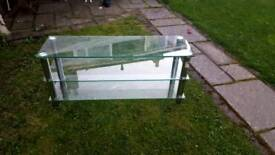 Large 3 tier glass tv stand