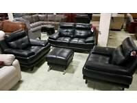 BLACK 2 SEATER 2 CHAIRS AND FOOTSTOOL