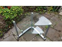 Glass corner desk/tv stand