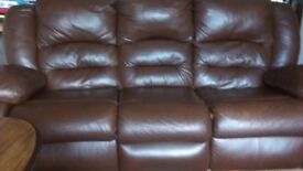 3 seater reclining brown leather sofa + 2 reclining chairs.