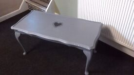 Coffee table in grey with shabby chic heart detail