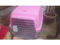Pink cat carry cage