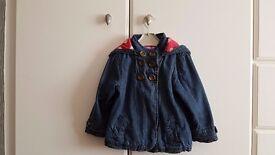 Baby Girl Autumn Hooded Denim Jacket (2 to 3 Years) - Brand: Tu - Blue – £6