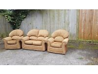 Great brown fabric sofa suite, 2 seater sofa and 2 armchairs. good used condition.can deliver