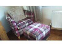 TUB CHAIR AND STOOL,JUST HAD RECOVERED..AS NEW, CUSHION INCLUDED..GREAT PIECE MUST BE SEEN