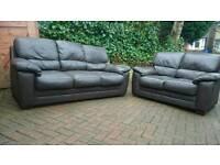 Leather sofas dark brown 3x2 excellent condition
