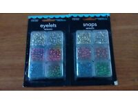 Eyelets and snaps for crafting multicoloured and 300 per packet
