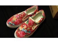 Brand new floral pink plimsolls size 6