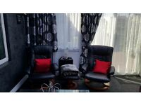 Recliner Swivel chairs and matching foot stools