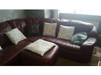 Large Brown Leather Corner Sofa (LOW PRICE)