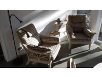 Massive matching set Cane furniture table and 4 chairs + 2 matching lounger chairs