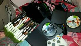 Xbox 360, headset, 2 controllers, 13 games
