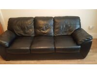 3 seater leather and 2 seater black sofa