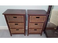 Pair of Wicker basket chest of drawers, solid wood frame - bedside, side table